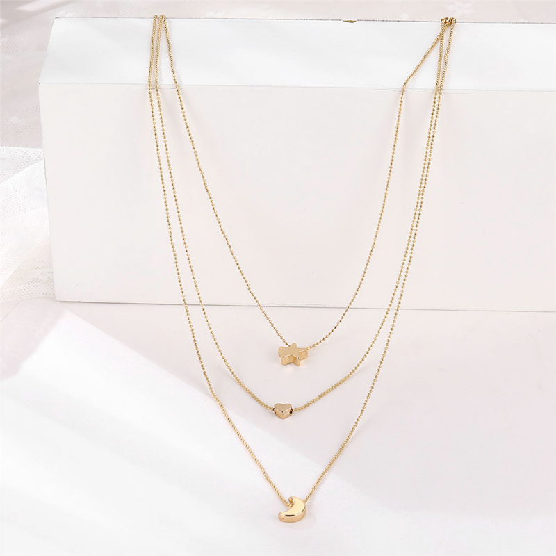 Bohemian Gold Color Star Moon Necklace for Women Multilayer Bead Chain Heart Pendant Necklace 2020 Fashion Jewelry Collar Female