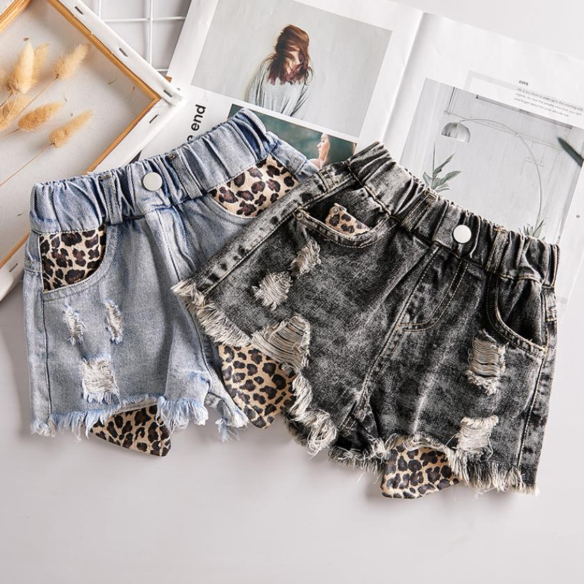 Baby Girl Denim Shorts Summer New Children Jean Hit Pants Leopard Stitching Casual Loose Jeans Kids Teens Holes Shorts Y2833