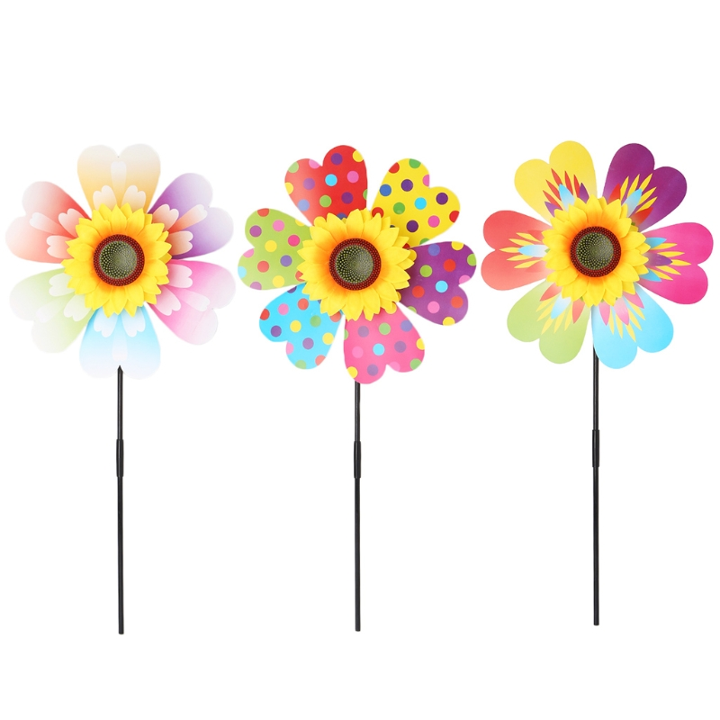 Windmill Kid Toys Sunflower Decoration Garden Ornaments Colorful Outdoor Spinner