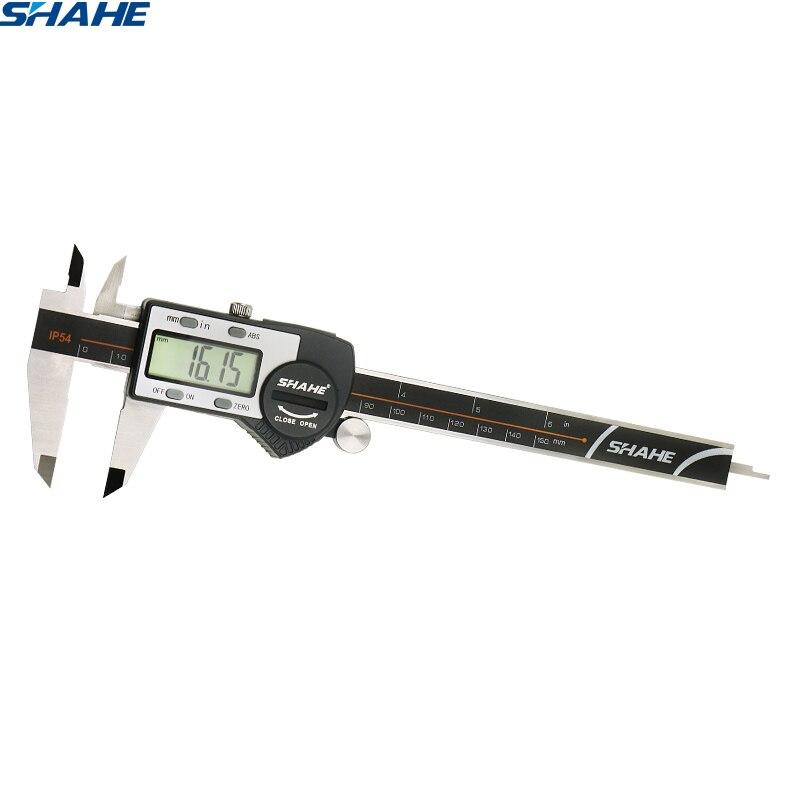 0-6 polegadas eletrônico digital caliper com o micrometer digital 150 mm do paquimetro de digitas do vernier da tela do lcd extra grande