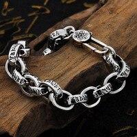 Thai Silver Buddha Bracelet Men Real S925 Sterling Silver mantra Bracelets For Women High Polished Retro Black Handmade Jewelry