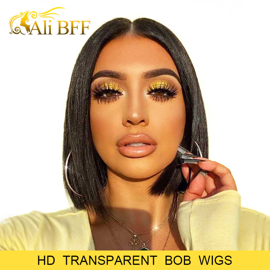 HD Transparent Lace Wigs Bob Lace Front Human Hair Wigs Straight Lace Front Wig ALI BFF Short Human Hair Wigs For Black Women