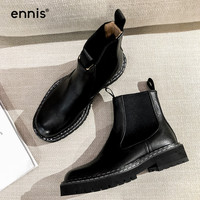 ENNIS Brand Ankle Boots For Women Boots Platform Genuine Leather Slip On Autumn Winter Flat Boots Black Beige Shoes New A9208