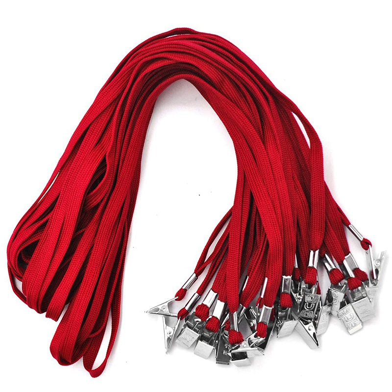 Lanyards 50 PCS Badge Lanyards With Clip Office Neck Flat Bulk Lanyard With Badge Bulldog Clip