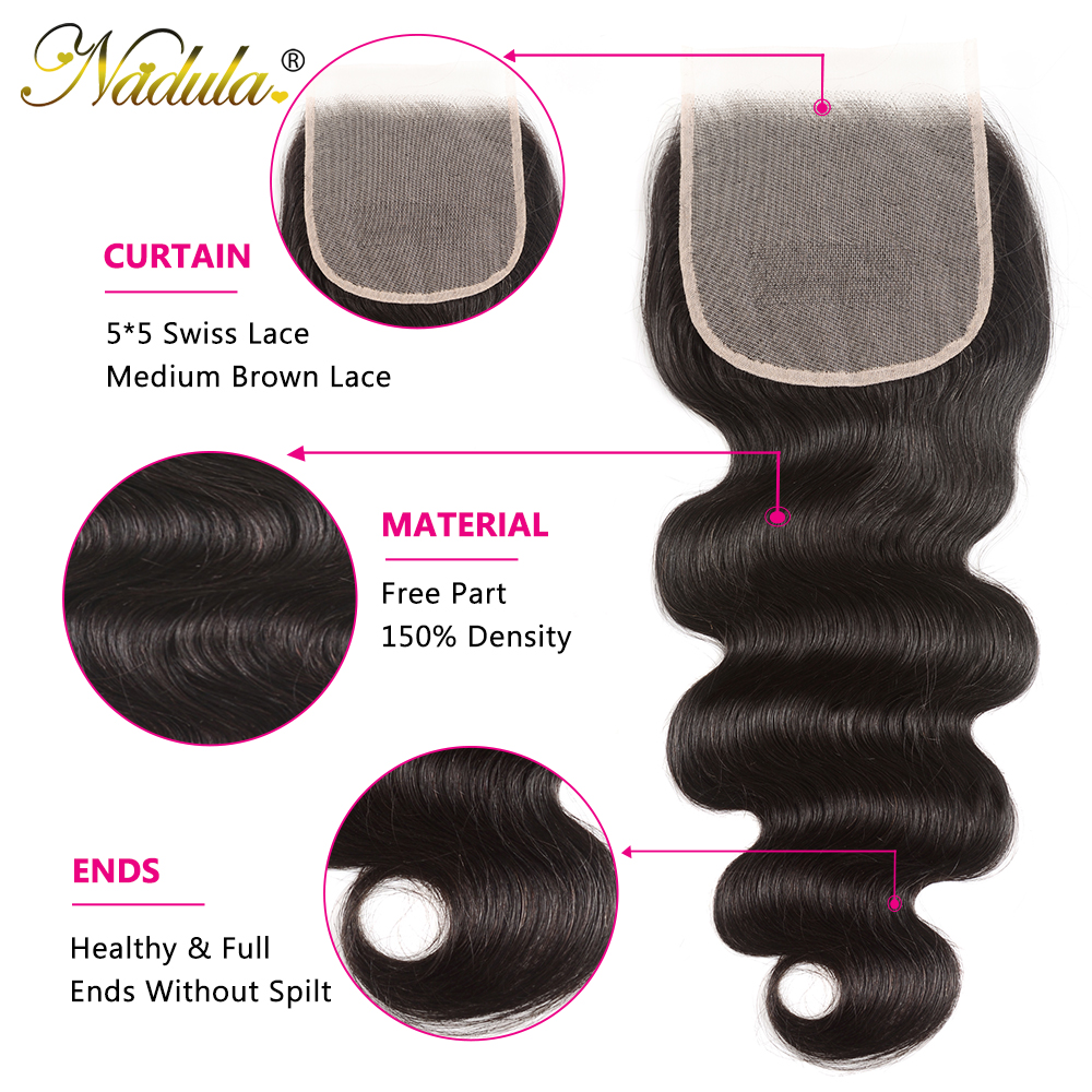 NADULA HAIR 4X4 Lace Closure Body Wave Hair Bundles With Closure Swiss Lace Medium Brown  Closure With Bundles 5