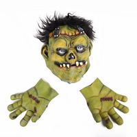 1 set Halloween horror mask masquerade ball with green face and ferocious fangs hulk bar dance mask with two hand party culture