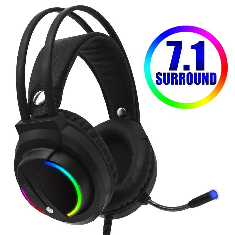 Casque de jeu Gamer 7.1 Surround son USB 3.5mm filaire rvb lumière jeu casque avec Microphone pour tablette PC Xbox One PS4