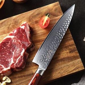 Image 5 - YARENH 3 sztuk zestaw noży kuchennych, japoński stali damasceńskiej Chef zestaw noży, drewno Pakka uchwyt, ostre narzędzia kuchenne z pudełko