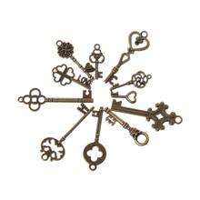 11 шт антикварный старинный старомодный скелет ключ кулон сердце лук замок стимпанк