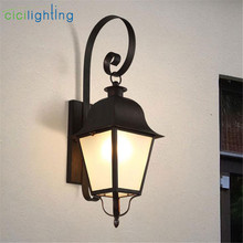 Black Glass Outdoor LED Wall Light Waterproof IP65 Wall mounted Lamps modern Sconce Decoration Lights 90-260V porch lighting