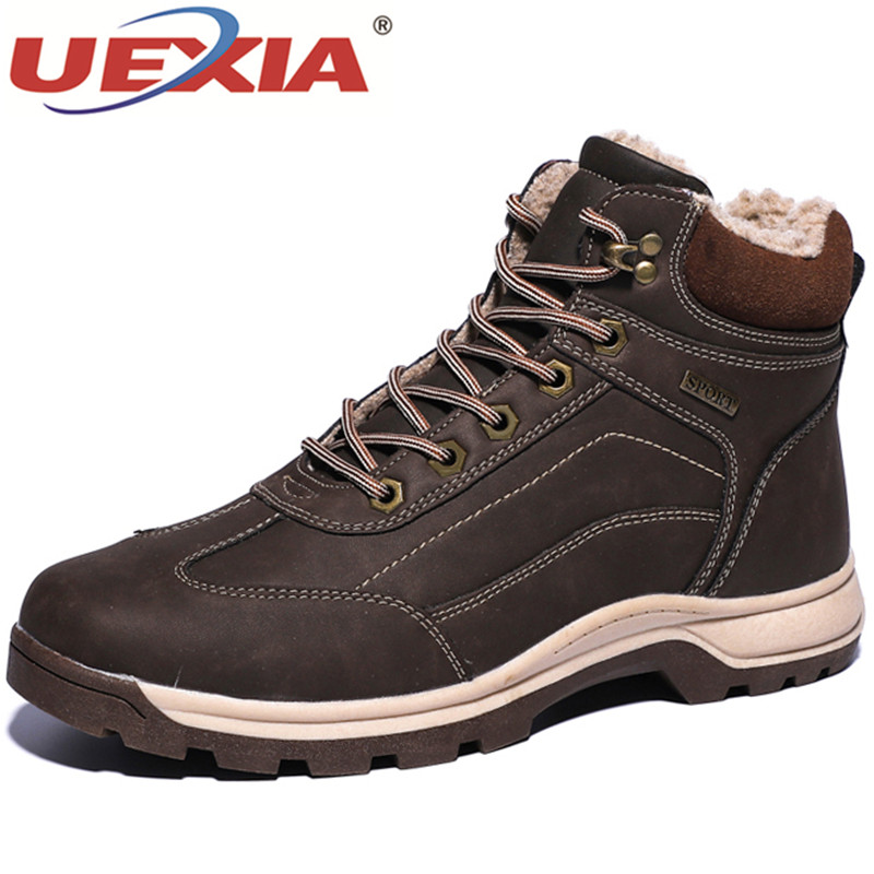 UEXIA Outdoor Shoes Men Winter Boots High Quality Warm Plush Ankle Snow Rubber Sneakers Footwear Desert Combat Tactic Mid-calf