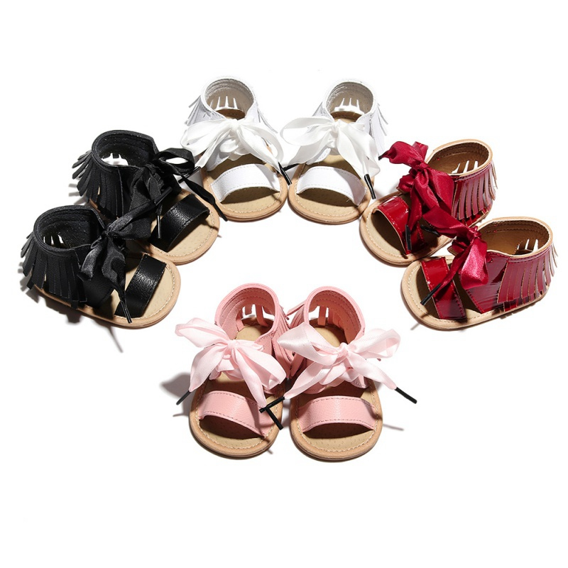 2020 Fashion Fringed Leather Sandal Lace Straps Baby Toddler Shoes Girls Soft Bottom Anit-Slip Beach Shoes Newborn Girl Sandals