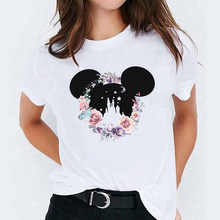 Women Print Cartoon Flower Castle Ear Fashion Lady Womens T-Shirt Graphic Tees Print Female Camisas Mujer T Shirt T-shirts(China)