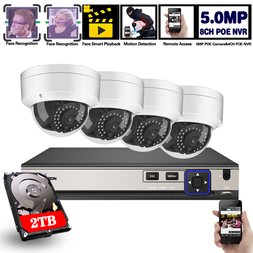 4CH 8CH POE 5MP 48V NVR System 5MP h.265 Audio Record NVR Camera Kit Outdoor P2P IR CCTV Surveillance Home Security Video Set image