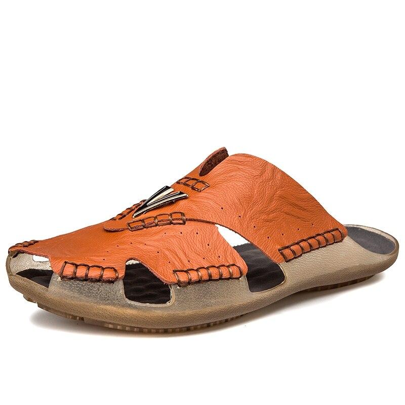 2020 Mens Sandals Slippers Lightweight Men Shoes Genuine Leather Casual Non-slip Summer Shoes Fashion Platform Big Size 38-48