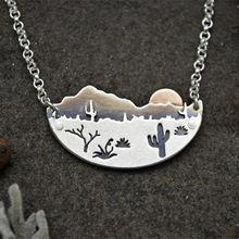 Desert sun ожерелье серебряного цвета Аризона Сагуаро кактус