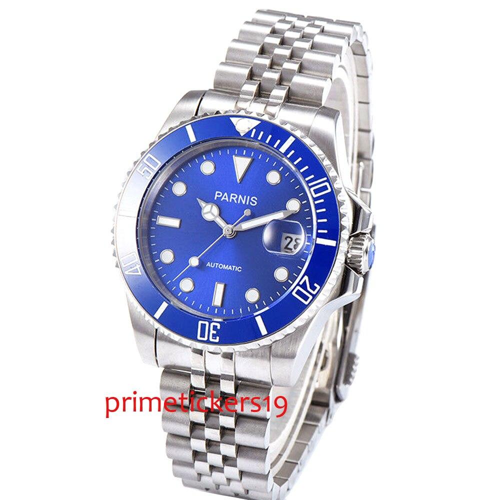 Automatic mechanical 40mm parnis blue dial blue ceramic bezel sapphire glass luminous men's wristwatches