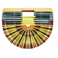 Neue High-grade Farbe Bambus Tasche Persönlichkeit Strand Tasche Tragbaren Grün Handmade Tasche Rattan Handtasche Outdoor Kupplung Tasche