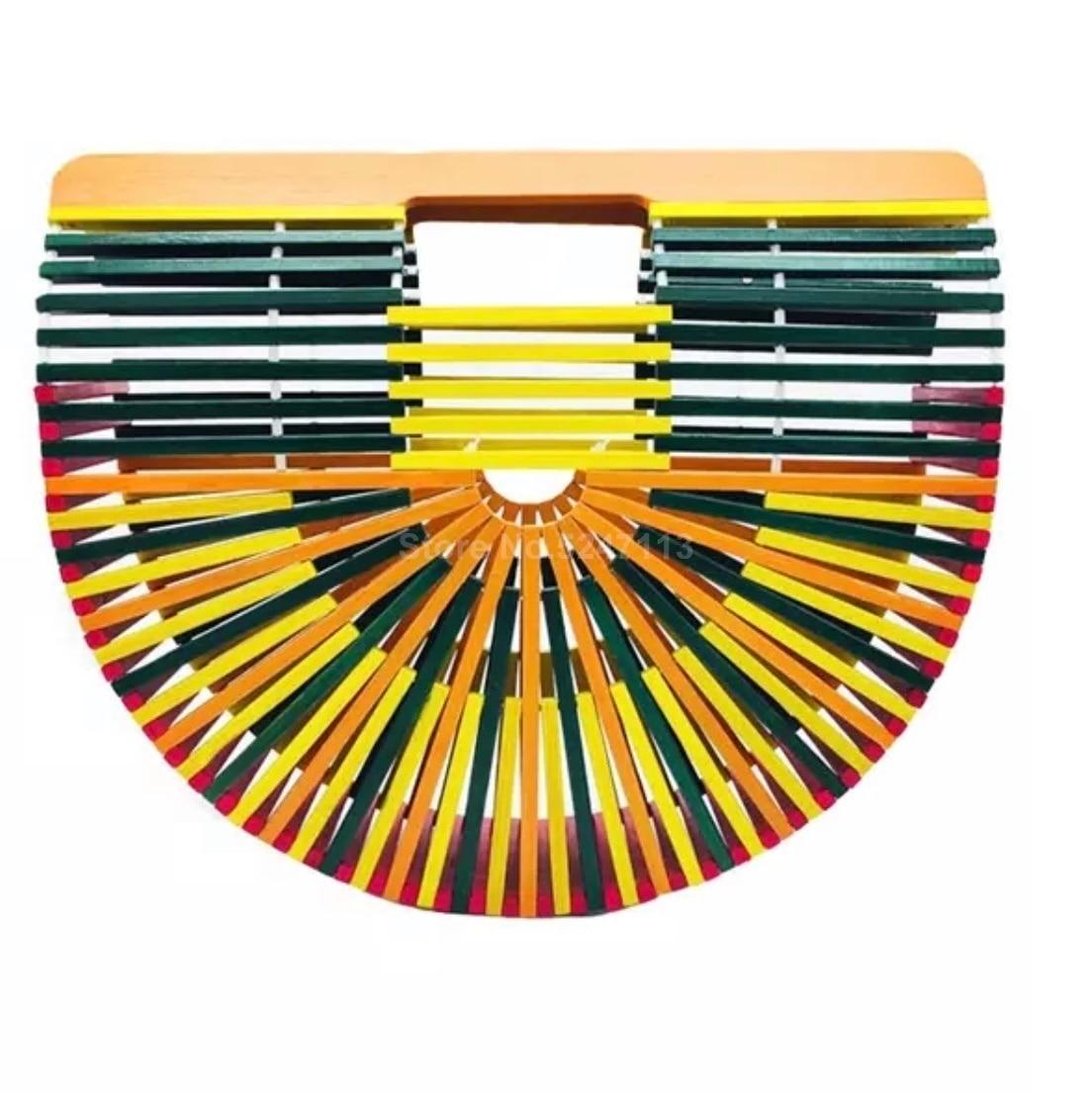New High-grade Color Bamboo Bag Personality Beach Bag Portable Green Handmade Bag Rattan Handbag Outdoor Clutch Bag
