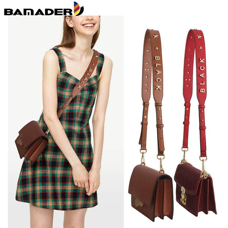 Genuine Leather Widening Shoulder Strap Detachable Bag Strap  Women Obag Adjustable Crystal Letter Bag Accessories Free Shipping