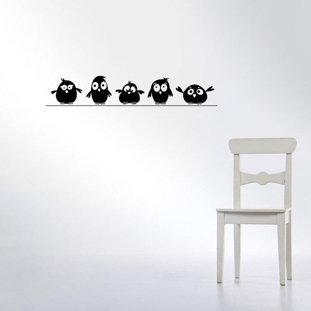 Cute 5 Little Birds On The Wire Wall Stickers Door Stickers For Kids Room Living Room Art Decals Cartoon Animal Waterproof Vinyl