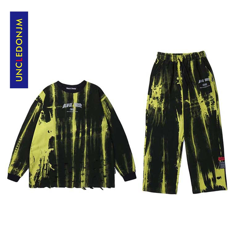 UNCLEDONJM Tie Dyed Suits 2 Pieces Men's Casual Pullover Cotton Men Tracksuit Hoodies Autumn Winter Set Men Hip Hop Suits