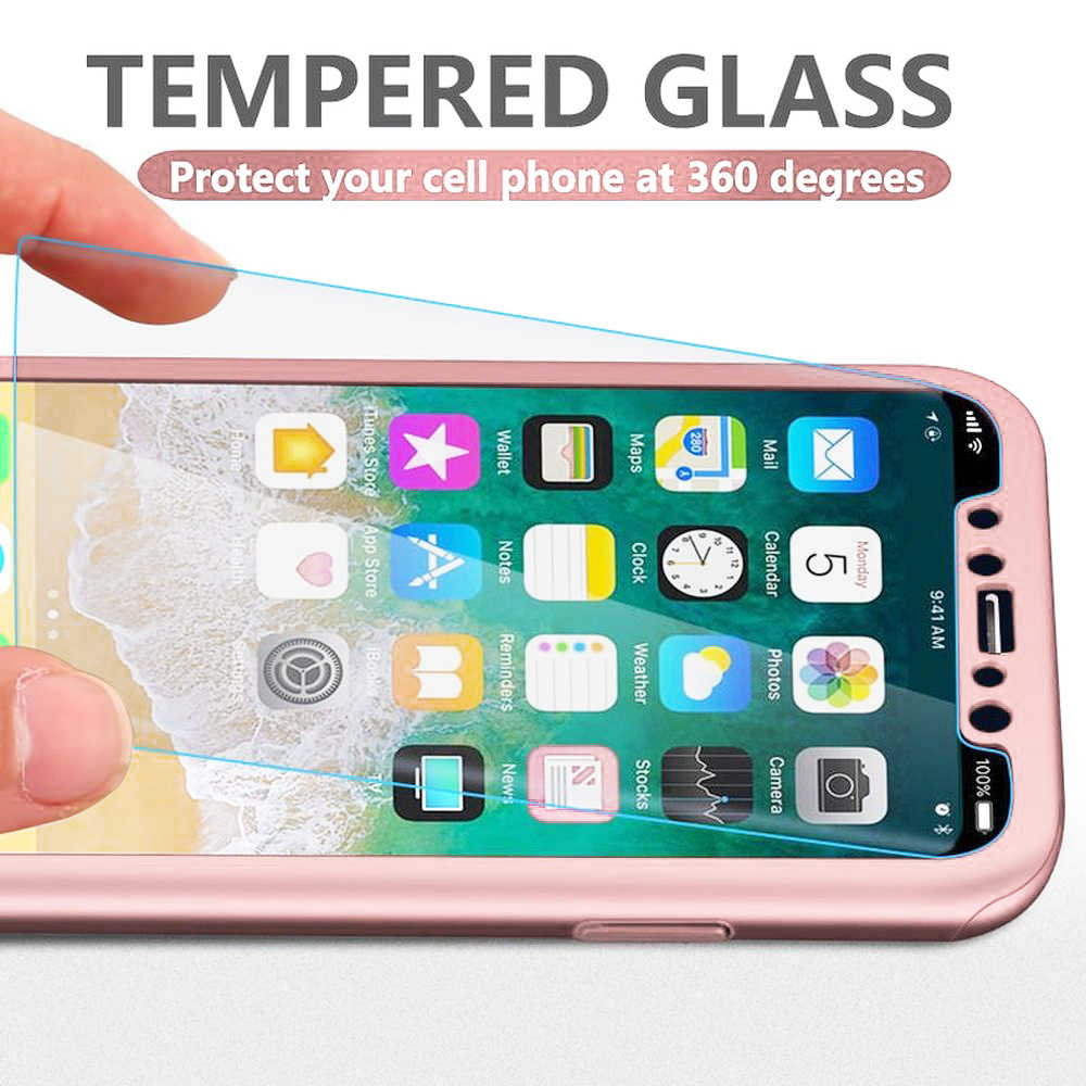 Pelindung Layar untuk iPhone XR X XS Max 360 Pelindung Cover Tempered Glass untuk iPhone 6 Case 6S 7 8 PLUS 5 S SE Capa