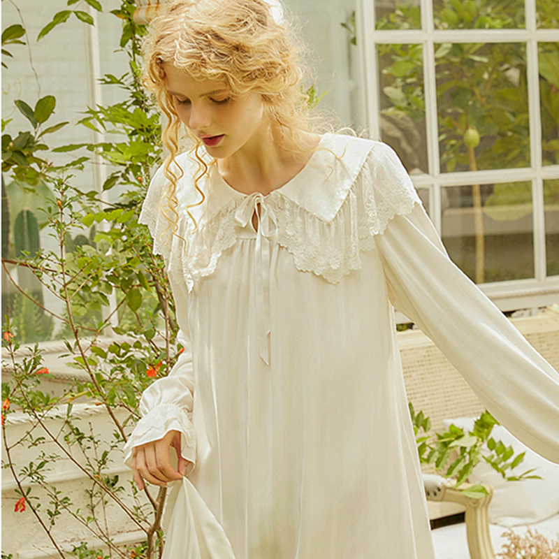 Long Nightgown Women Princess Long Sleeve White Pink Sleepwear