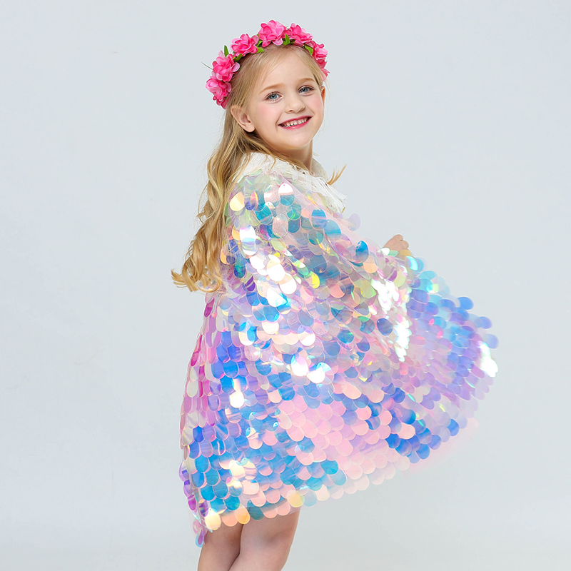 Birthday Party Little Fish Scale Costume Child Colorful Sequined Cloak Girls Christmas Fancy Fairy Princess Ariel Sequin Cloak
