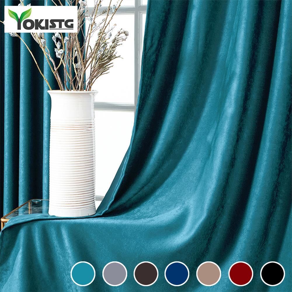 YokiSTG Soft Velvet Blackout Curtains For Living Room Bedroom Solid Color Modern Plain Drape Window Treatment Decorative Curtain