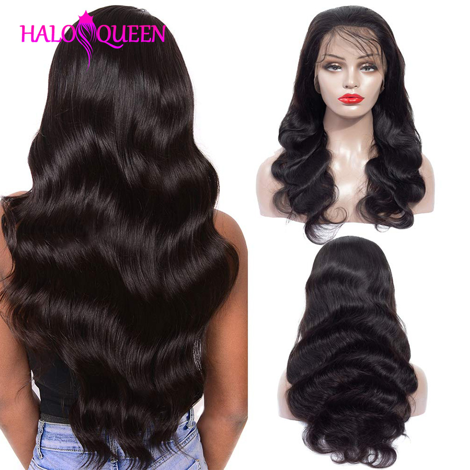 HALOQUEEN Lace Front Human Hair Wigs Body Wave Human Hair Wigs 13*4 Lace Front Wigs Remy Density 130% Lace Wigs For Black Women