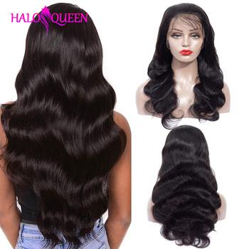 HALOQUEEN koronki przodu peruki z ludzkich włosów ciało fala peruki z ludzkich włosów 13*4 koronki przodu peruki Remy gęstości 130 koronkowe peruki dla czarnych kobiet tanie i dobre opinie Remy Ludzki Włos Średnia wielkość Human Hair Remy Hair Body Wave Peruvian Hair Medium Brown Darker Color Only Swiss Lace