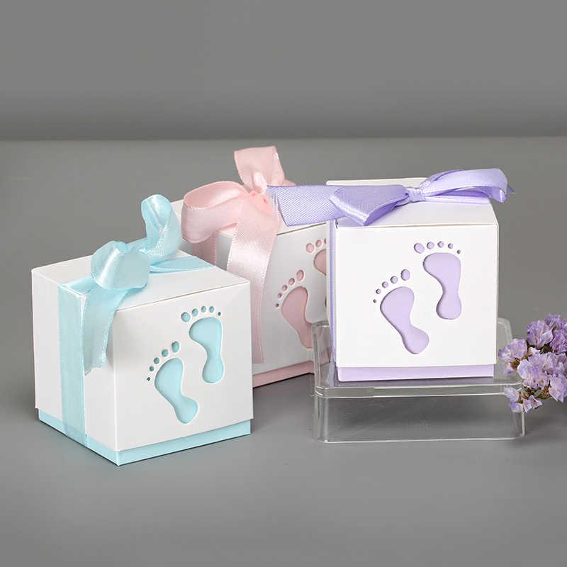 10 ピース/ロット 6*6*6 センチメートルラブリーベビー足の形状キャンディボックスレーザーカットベビーシャワーの装飾のギフトボックス誕生日パーティーの装飾