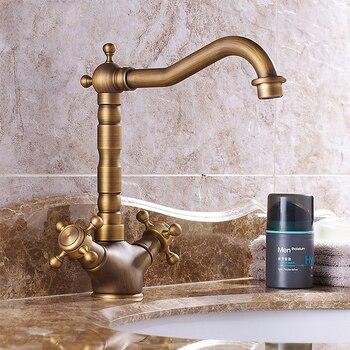 Bathroom Basin Faucet 360 Degree Swivel Spout Double Cross Handle Vintage Antique Brass Kitchen Sink Tap Cold Hot Water Mixer
