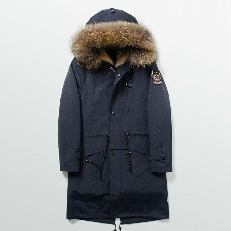 Parka Homme Real Wolf Fur Coat Men Long Winter Jacket Men Raccoon Fur Collar Long Parkas Hombre Invierno FDBQ110 KJ1351