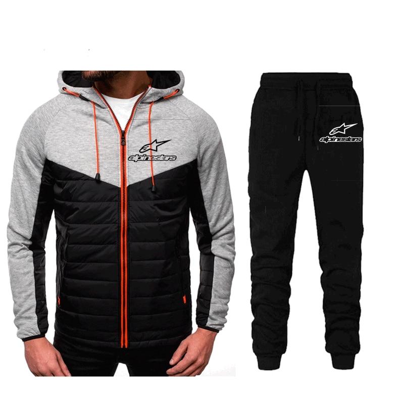 fashion brand Alpinestar Men's Set Fleece Hoodie Pant Thick Warm Tracksuit Sportswear Hooded Track Suits Male Sweatsuit