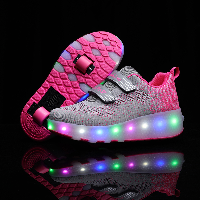 RISRICH Kids Shoes With LED Light For Baby Toddler Boys Girls Usb Charging Light Up Sneakers With Wheels Kids Roller Skate Shoes