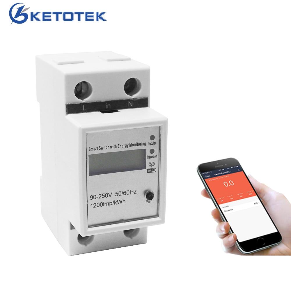 Compteur d'énergie intelligent WIFI monophasé Rail Din App télécommande 220V 50Hz courant de tension moniteur électrique wattmètre