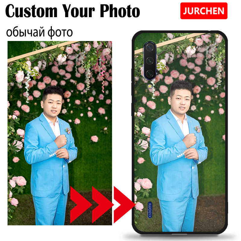 JURCHEN caso personalizado para Xiaomi rojo mi 6A 6 Pro 4A mi 6 8 9 SE A2 A3 Lite Nota 4X7 Plus 5A teléfono caso Custo mi zed nombre logotipo de la foto