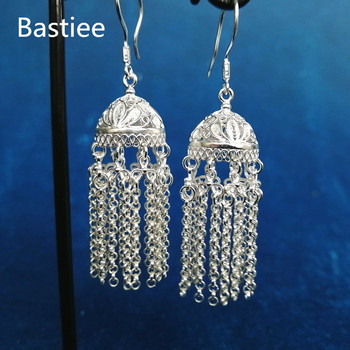 Bastiee 999 Sterling Silver Mongolia Hat Tassel Earrings For Women Fine Jewelry Hmong Handmade Earing Ethnic oorbellen brincos
