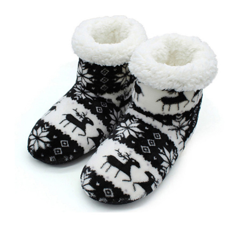 Fashion Winter Shoes Woman Home Ankle Boots Christmas Deer Indoor Socks Boots Warm Ladies Cotton Fur Shoes Plush Botines Mujer