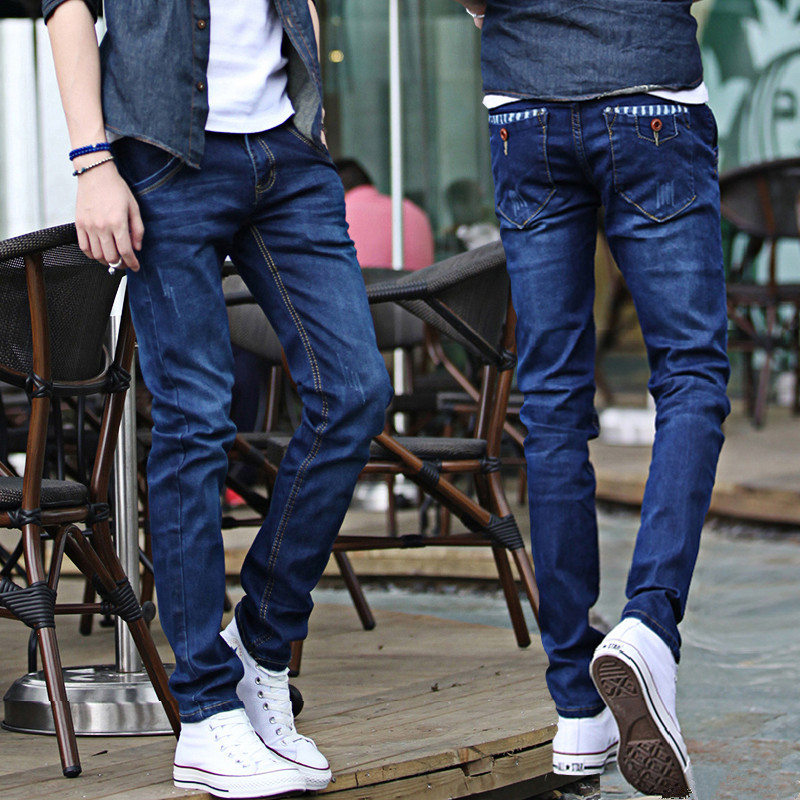 Autumn Thin Slim Fit Small Feet Long Pants Korean-style Versatile Casual Nine Jeans Men Youth Handsome Fashion