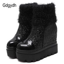 Gdgydh Sequined Cloth Winter Boots Shoes Woman Platform Wedge For Women Black Gray 2019 New Brand Round Toe Drop Shipping