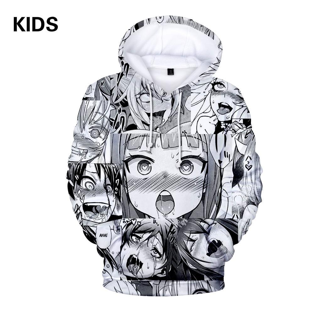 Loose Casual Warm Hoodies Sweatshirt and pant Ahegao 3D print Men Women Hooded Sweatshirt Female Jumper Tracksuits Kids Hoody