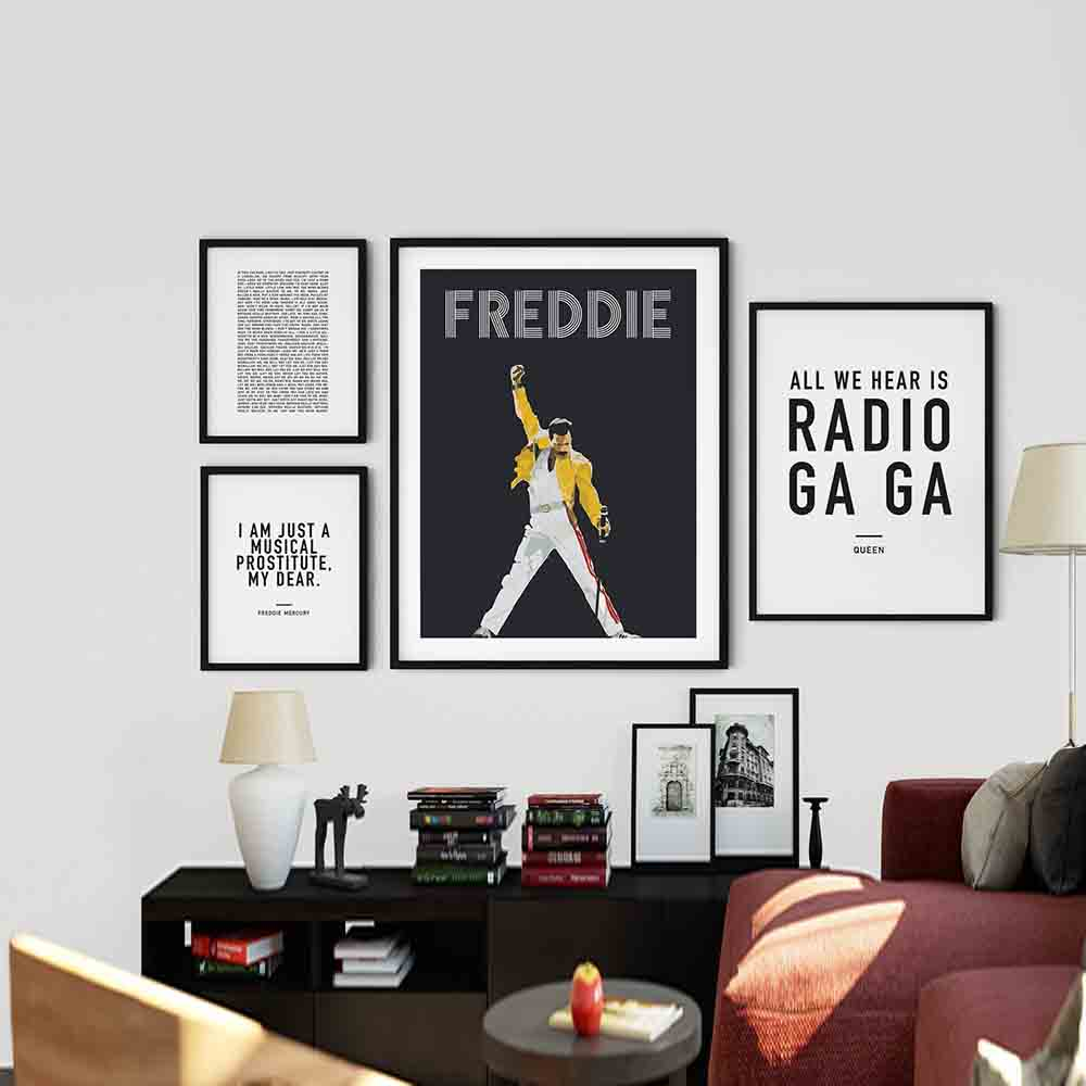 Freddie Mercury Vintage Canvas Painting Posters And Prints David Bowie Singer Picture Queen Wall Abstract Decorative Home Decor