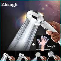 ZhangJi Neue 4 Funktionen Dusche Kopf Rotierenden Schalter Modi mit Stop Taste Silikon Loch Hochdruck Wassersparbrause