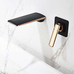 Basin Faucet Mixer Wall Mounted Rose Gold Black Matte Single Handle In-Wall Bathroom Sink Faucet 2 Holes Hot & Cold Tap Torneira