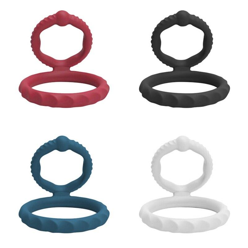 Erweiterung Kondome Doppel Bondage Erektion Zeit Verzögerung Extender Cock Ring Männlichen Sex Spielzeug Silikon Penis Ringe Sex Shop Für Männer