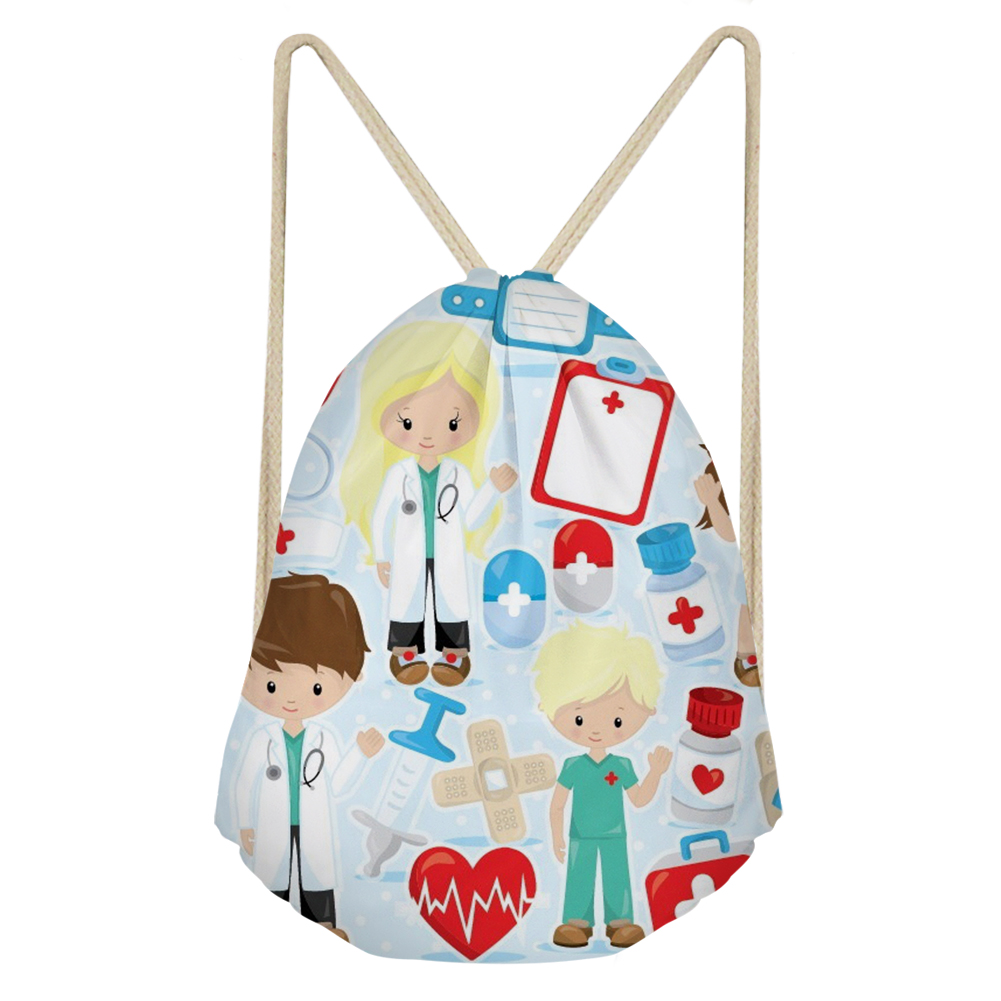 THIKIN Drawstring Bag With Cartoon Nurse And Doctor Print Daily Shoulder Bags Personalized Pouch Custom Bags For Teenager Girls