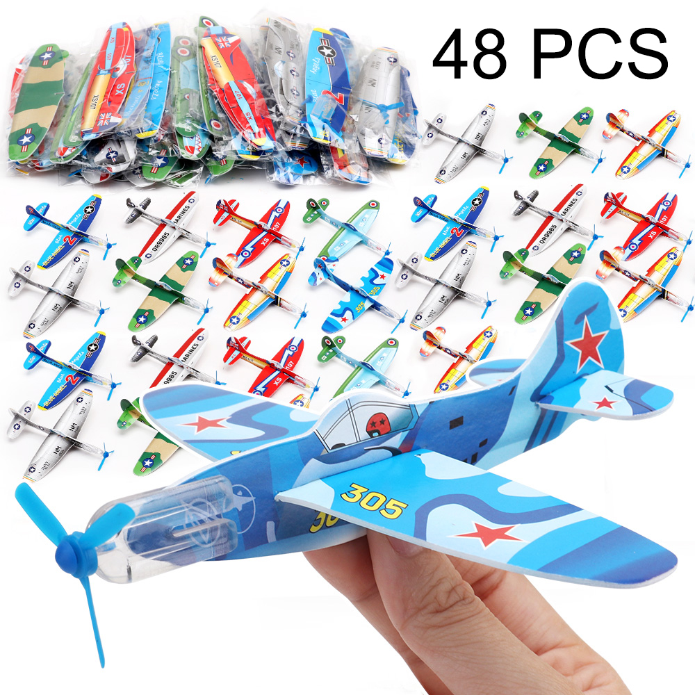 48PCS DIY Flying Glider Foam Planes For Children Mini Paper Airplane Great Birthday Party Favor Goody Bag Fillers Kids Pinata image